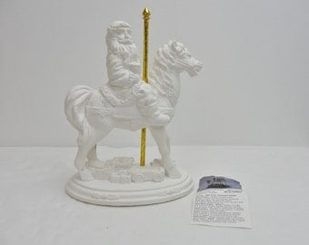 Ceramic santa DIY, paint your own Santa, Santa on carousel horse plastercast