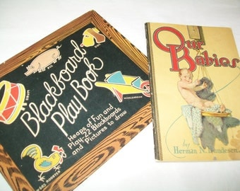 1920s Books, Our Babies, Blackboard Play Book, Antique