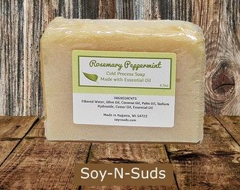 ROSEMARY PEPPERMINT Soap - Scented with Essential Oils - Cold Process Soap - CP Soap