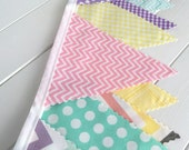 Bunting Banner, Fabric Flags, Nursery Decor, Photography Prop, Birthday Decoration - Rainbow,Lavender,Mint Green,Pink,Pastel,Chevron,Dots