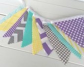 Banner,Bunting,Fabric Flags,Nursery Decor,Photography Prop,Home Decor,Garland,Pennant,Yellow,Gray,Mint Green,Lavender,Purple,Chevron