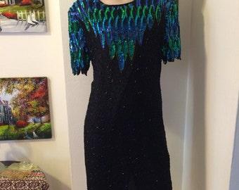 Vintage 80s Ste nay Silk black Bead Green blue Sequin Dress Size medium