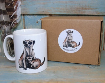 Meerkats Illustration Mug