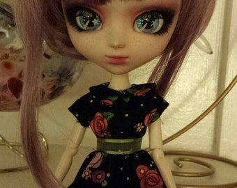 Black Floral Pullip/ Blythe doll dress