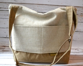 Day Bag in French Linen &  Waxed canvas the 'Demi' - vegan leather tote by Darby Mack Tote bags made in America