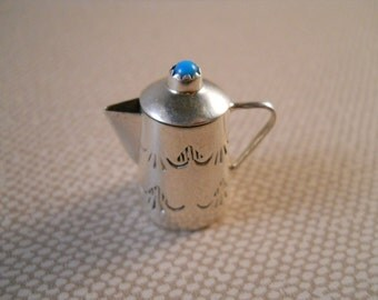 Vintage Navajo Silversmith Wesley Whitman Sterling Silver Turquoise Minature Coffee Pot