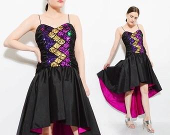 Vintage 80s Avant Garde Sequin Party Dress High Low FISHTAIL Full Skirt 1980s Glam Disco Prom Dress Black Purple Small S