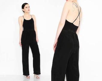 Oscar de la Renta 80s Black Silk Pants High Waist Trousers 1980s Minimalist Dress Pants Small S 26 waist