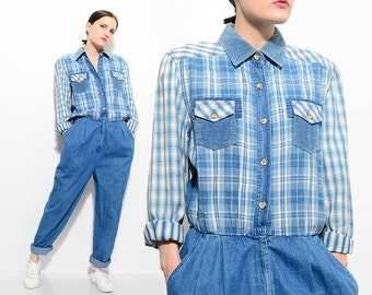 90s Chambray Denim Jumpsuit Plaid Flannel Button Up Shirt High Waist Pleated Front Pantsuit Boyfriend Grunge Onesie Medium Large M L