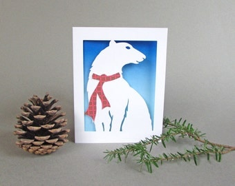 Polar Bear Holiday Card - Christmas Winter Greeting Card Paper Art Blue and White