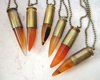Peach Agate & Bullet Casing Necklace - Translucent Peach Agate Stone Talon Points set into Real Bullet Casing