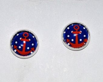 Anchor cameo earrings