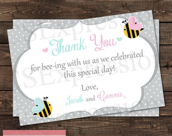 Bee Gender Reveal Baby Shower Thank You Card