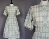 70% Off Sale Vintage 60s Dress 1960s Plaid Shirtwaist Day Dress Full Pleated Skirt Short Sleeve Cotton Green Medium