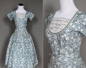70% Off Sale 1950s Party Dress Vintage Cocktail Dress Blue and White Floral Drop Waist Full Skirt XS