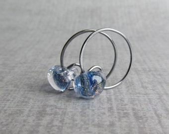Indigo Sparkle Earrings, Indigo Earrings, Small Hoop Wire Earrings, Indigo Hoops, Indigo Lampwork Earrings, Oxidized Hoops, Sterling Silver