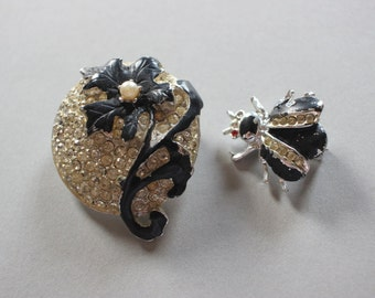 2 Vintage Brooches Flower And Bug