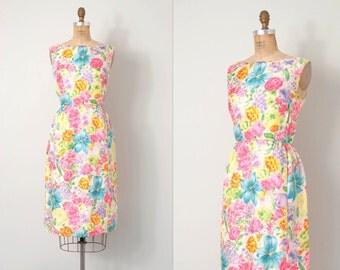 vintage 1960s  dress / 60s floral silk wiggle dress / Wildflower Garden