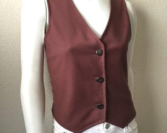 Vintage Unisex Adults 70's Mauve, Polyester Vest (XS/S)