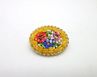 Micromosaic Vintage Italian Pin Brooch Yellow Floral Micro Mosaic
