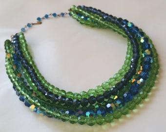 Vintage 1950's Swarovski Crystal Multi Strand Necklace Blue and Green Hues