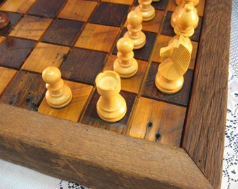 Wood Chess Set from Reclaimed 1830's Wormy Chestnut Barn Beams