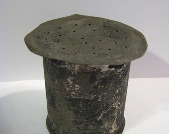 Pounce Pot for Drying Ink Primitive,Antique Sand Shaker for Quill Pen,Early 1800's Metal Pounce Pot, Early 1800's Tin Sand Shaker,Tin Sander
