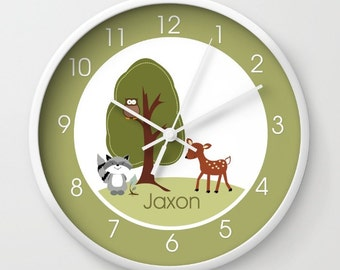Woodland Deer, Owl and Raccoon Forest Nature Theme Baby Nursery 10-inch Wall Clock