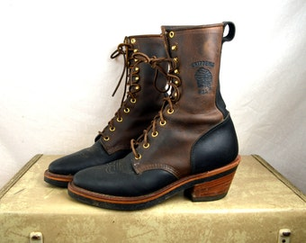 Vintage AMAZING Chippewa Men's Leather Two-tone Roper Lace Up Boots  - Size 7 D