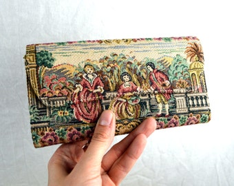 WOW Vintage Tapestry Carpetbag Wallet Clutch