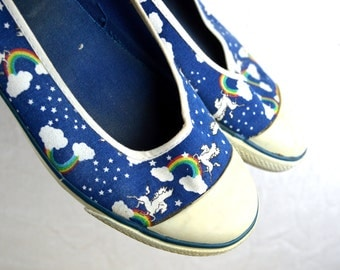Cute Vintage 80s Pegasus Rainbow Space Slip On Sneakers