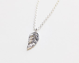 Leaf Charm Necklace - Sterling Silver || Weddings || Bridesmaids Thank You Gifts || Minimalist || Simple || Layer