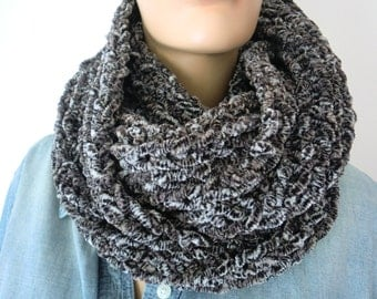FREE SHIPPING-Taupe speckled chunky winter scarf for men and women Hand knitted ulta soft fluffy winter cowl-More colors are coming