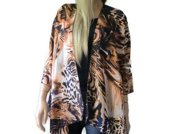 Fire and Earth  Kimono/ Kimono cardigan- Gorgeous colors and print-Lagenlook kimono chiffon kimono-ruana-  summer collection-Women Kimonos