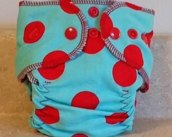 Fitted Preemie Newborn Cloth Diaper- 4 to 9 pounds- Red Dots on Turquoise- 16016