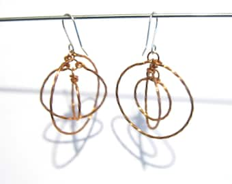 Suspended Rings Earrings - Twisted Copper with Sterling Silver Hooks - Gift for Her Under 25
