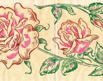 1950s Full Color Vintage Vogart Rose Flowers Uncut Hot Iron No Sew Transfer