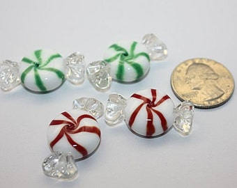 Lg. Peppermint Candy lookalike Handmade Glass Lampwork Bead by TH