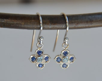 14K White Gold Victorian Style Four Petal Flower Earrings with Sapphire and Kornerupine