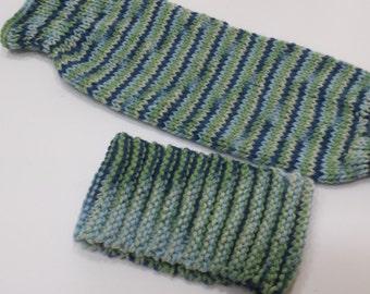 Hand knit Headband Arm Warmers Muff Mittens -Warm and Soft- Adults Teens