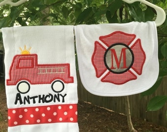 Fireman bib & burpcloth set