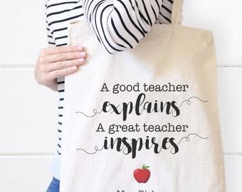 Personalized Teacher Canvas Tote Bag, Teacher Tote bag, Teacher Gift, Personalized Gift, Teacher Bags