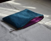 Pencil case indigo blue cotton fabric naturally dyed zip wallet pouch plain cosmetics organizer travel cobalt makeup bohemian art brush bag