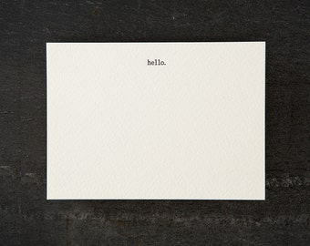 hello. letterpress printed. flat card. #057