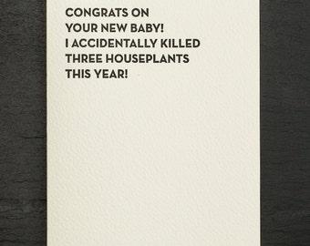 houseplants. letterpress card. #918