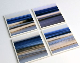 Beach Decor, Ocean Waves, Blue, Coaster Set, Ceramic Tile, Water Abstracts, 4X4, Set of 4, Nautical Home