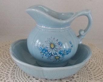 Ceramic Bowl & Pitcher, French Country, Farmhouse Primitive, Home Decor