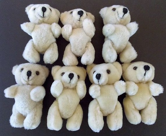7 Plush Jointed Teddy Bears, Vintage, Stuffed Animals, Floral Supply, Cute Soft Toy