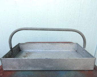 Vintage Industrial Tote Tray Organizer Galvanized Metal Herbs Flower Pot Display