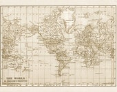 Rustic world map printable file download.  Digitally altered large vintage 1915 sepia colored image for wall hanging, background images.